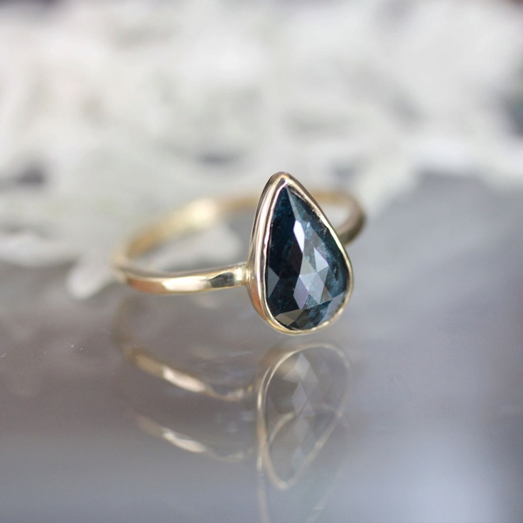 Reserve Listing for A Rose Cut Deep Blue Teardrop Diamond In 14K Ye…