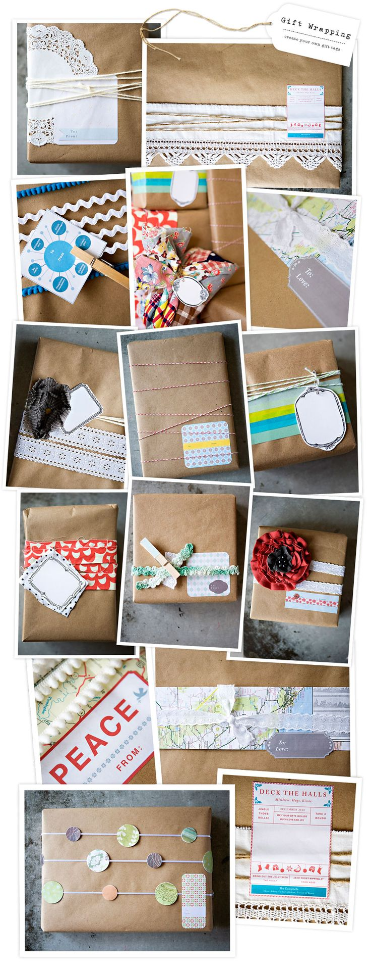 Gift Wrap Ideas... I love brown paper packages!