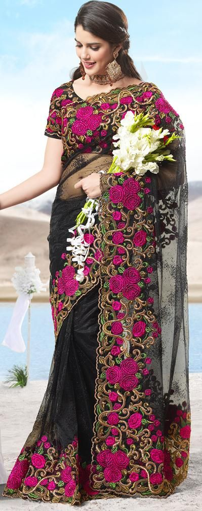 120.15 Black Net Saree 20433 With Unstitched Blouse