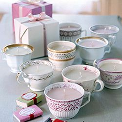 Tea cup candles!!!  Buy teacups at the thrift store to save money and to find random pieces!  I'm totally doing this at Christmas!!!