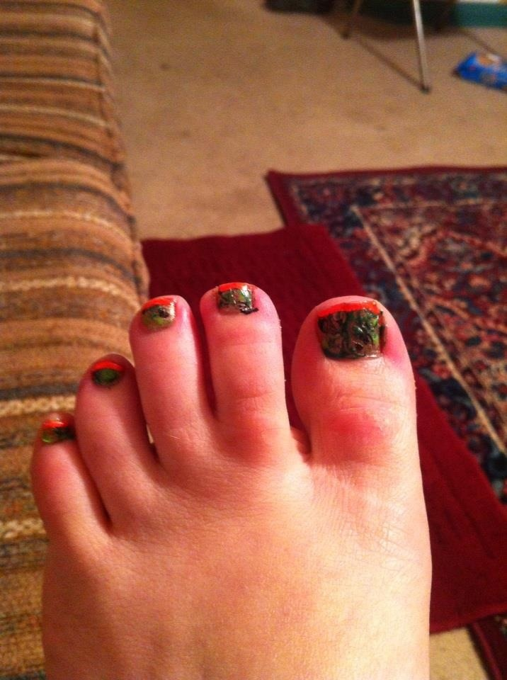 Camo toenails with orange tip | Nails | Pinterest