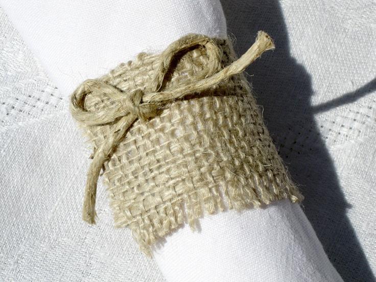 Rustic burlap napkin rings | Wedding Ideas | Pinterest