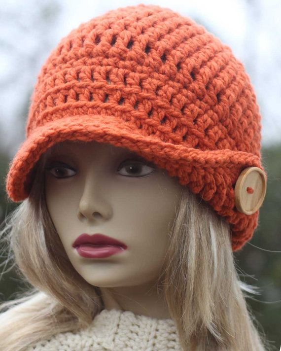 Crochet Newsboy Hat Pattern : Ladies Winged Brim Newsboy Crochet PDF Pattern Button Up Newsboy Hat
