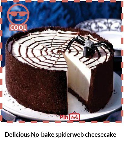 Delicious No-bake spiderweb cheesecake.Get into the spirit of ...