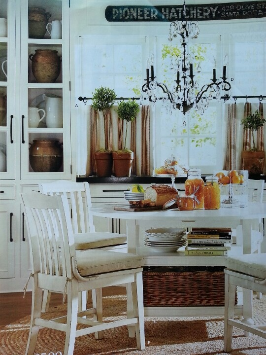 pottery barn dining room basket at bottom cookbooks and dishes on