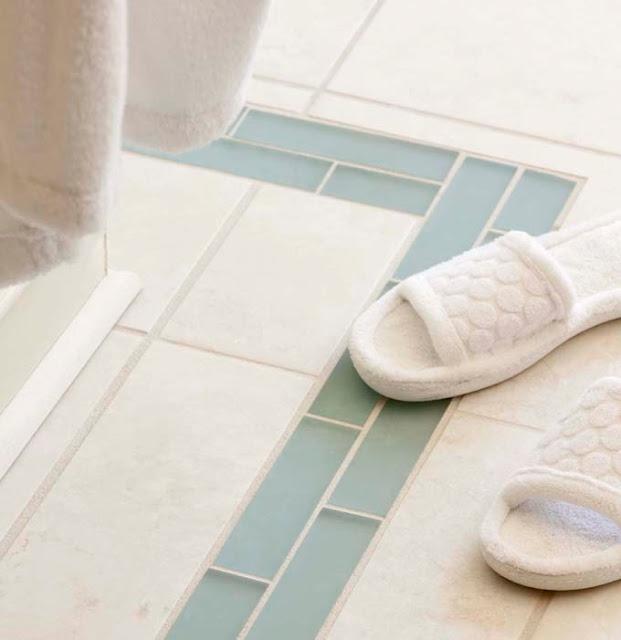 A sea glass tile border bathroom pinterest for Glass tile border bathroom ideas