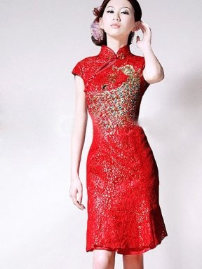 Cheap Cheongsam Dresses Wholesale Discount Cheap brilliant red lace jacquard in phoenix knee length short sleeves chinese style wedding cheongsam dress - $126.91 : Cheap Cheongsam | Cheap Cheongsam Dress - CheongsamGroom.com, Cheap Chinese Cheongsam