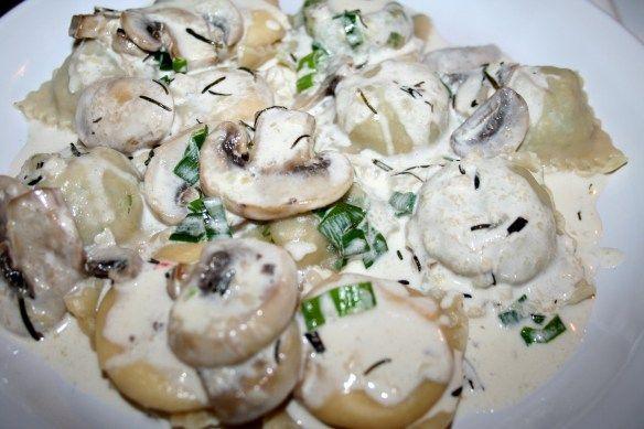 Chicken Marsala Ravioli Filling with Mushroom Cream Sauce