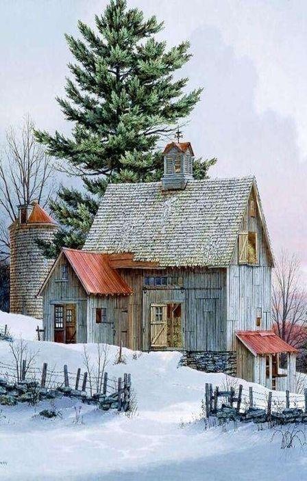 Beautiful barn christmas art pinterest for Country barn homes