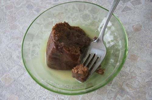Chocolate Steamed Pudding Cake with Browned Butter Sauce.