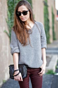 Grey Sweater With Dark Red Pant