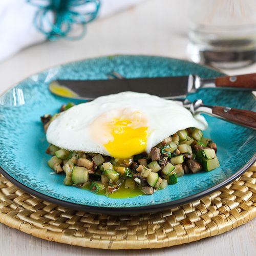 Quick Mushroom, Zucchini & Thyme Sauté with Fried Egg | Recipe