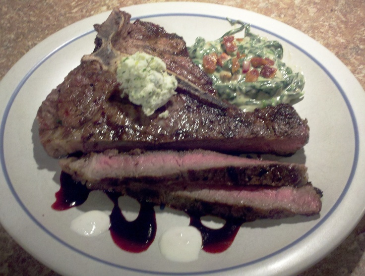 Bone Steak Herbed Garlic Butter Balsamic Vinegar Reduction Steak ...