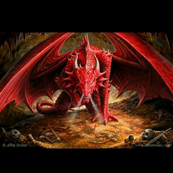 Angry red dragon artist anne stokes tattoos pinterest