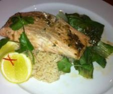 Ginger and Soy Glazed Salmon with Bok Choy and Coconut Rice | Official ...