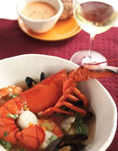 Lobster (or crayfish) cioppino, a regional fish stew with scallops and ...