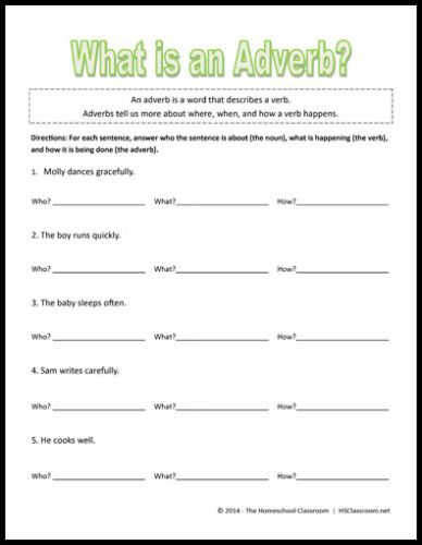 Free 4th grade worksheets on adverbs
