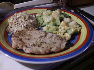 POrk chops rubbed with ground mustard, pesto rice, and cheesy broccoli ...