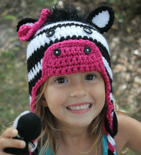 Crochet zebra hat made to order you can pick the accent color. $30.00, via Etsy.