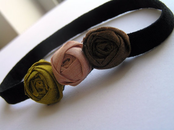 """Material:silk    Rose measures:1""""(2cm)  The elastic for headband measures 15.50 cm!    For more items , visit my shop:  http://www.etsy.com/shop/RosesAreRedCo  or Join me on Facebook:   http://www.facebook.com/pages/Roses-are-Red/330244820331535"""