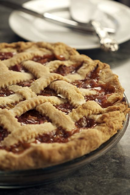 Rhubarb Pie with Lattice Crust and the 3-2-1 Pie Dough