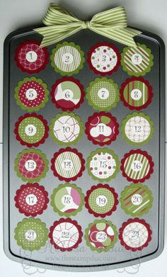 Muffin tin advent calendar with magnetic #s-- GENIUS! I was just about to spend a LOT of time making an advent calendar!