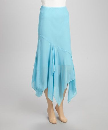 quiz light blue chiffon maxi skirt
