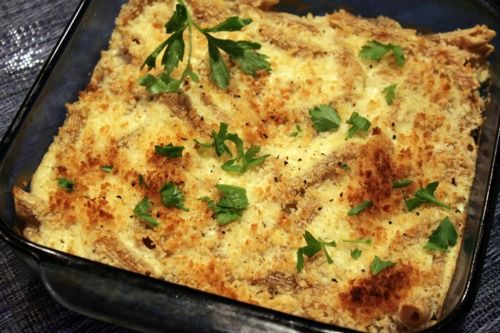 Cambridge Story, Pasta casserole with silken tofu alfredo