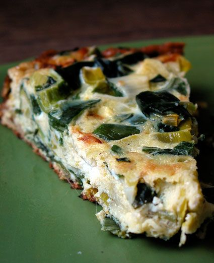 Lemon Frittata with Leeks and Goat Cheese. Made with eggs, lemon, goat ...