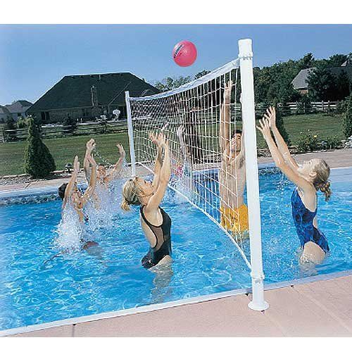 24 39 Deck Mounted Swimming Pool Volleyball Set Game Outdoor Sport Bask