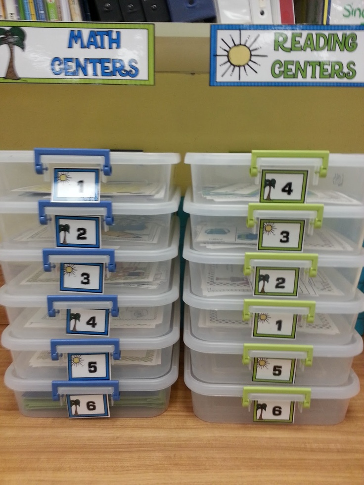LOVE the Centers Storage idea -- The Teachers' Cauldron: First Days of the Year...and Freebies!