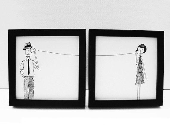 Ernest and Eloise play telephone art print set
