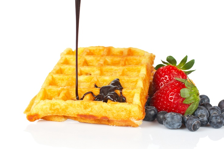 Waffles with Fruits and melted Belgian Chocolate! Begin your day with ...