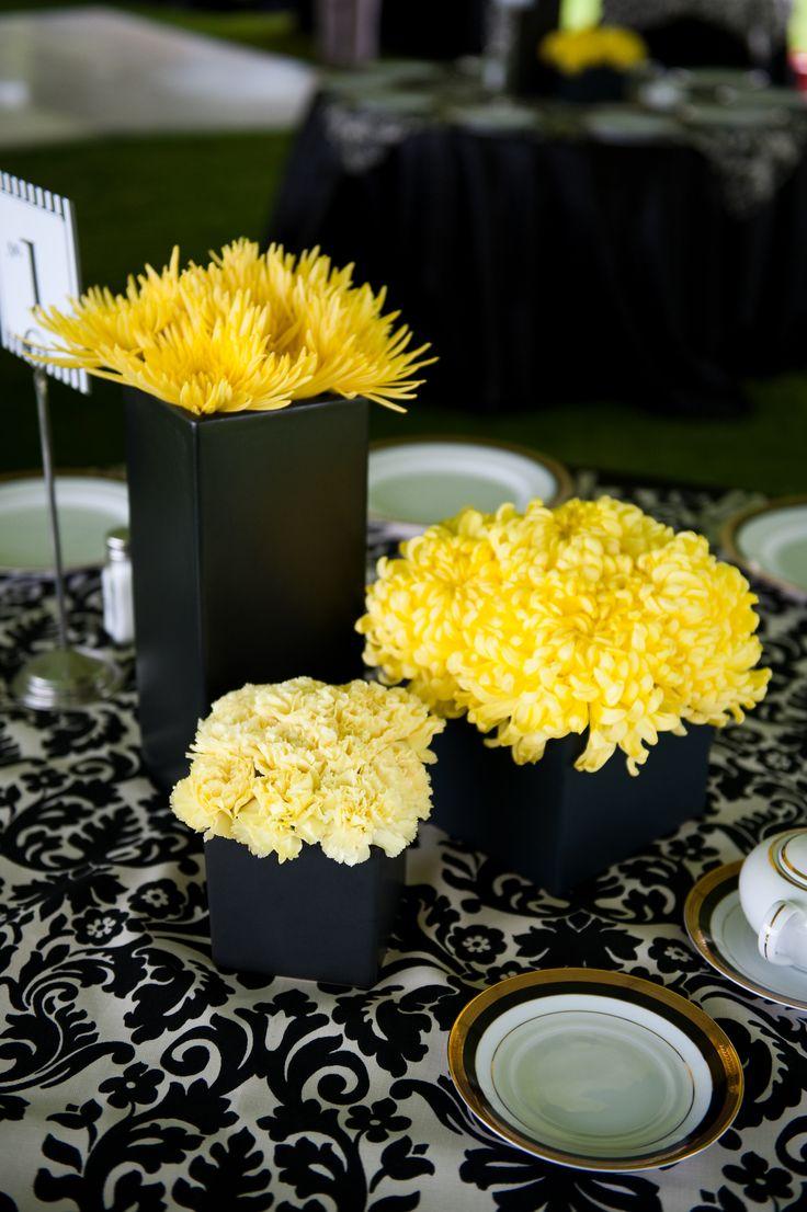 Black And Yellow Modern Centerpieces Pinterest