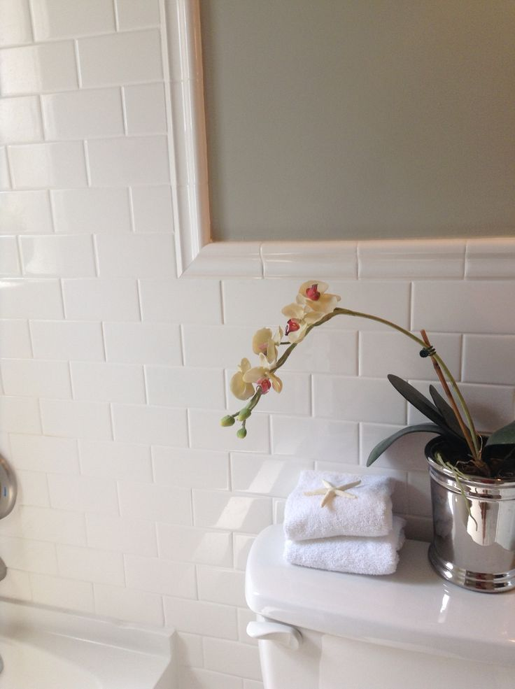 Bathroom Subway Tile White Mirror For The Home Pinterest