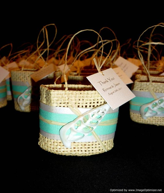 These are super cute! Woven Beach Favor Bag Beach Wedding by ...