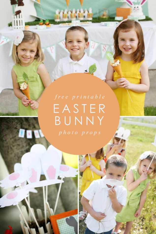 Free printable Easter bunny photo props to add a little bit of silly fun to your Easter party! #Easter