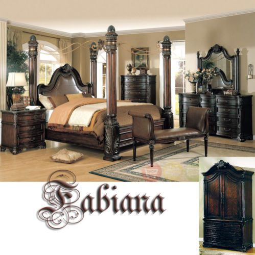 Fabiana King Poster Canopy Bed 4 Piece Bedroom Set W Marble Tops