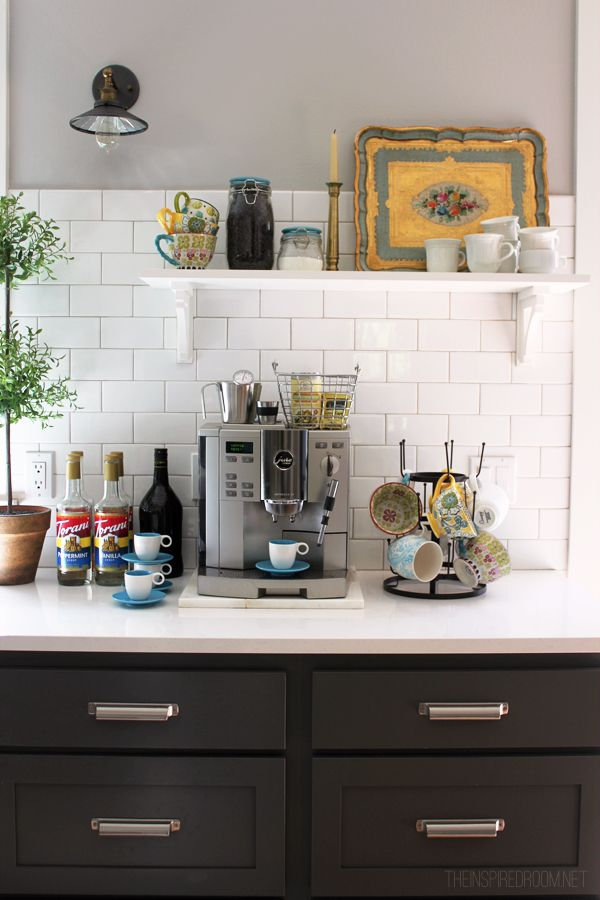 Fall nesting pretty mugs fancy coffee station for Kitchen coffee bar cabinets