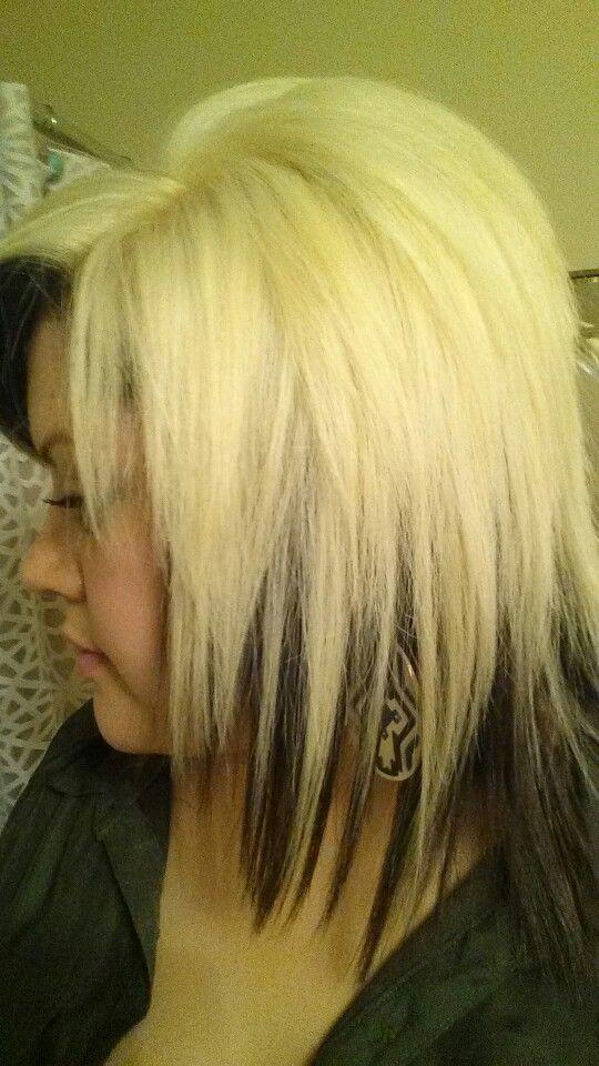 Contrasting Hair Colors Platinum Blonde With Dark Brown Underneath Hair By