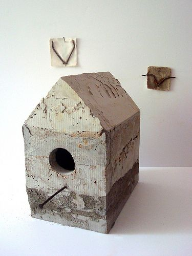 Birdhouse - concrete, nails (with two birds)
