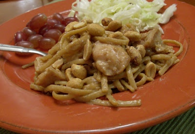 Slow Cooker Peanut Sauce with Chicken and Fettuccine