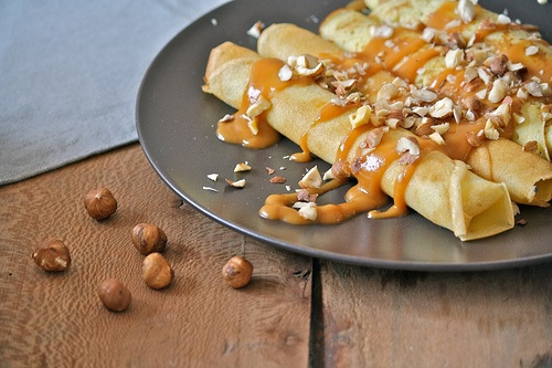 Hazelnut Crepes with Caramel Sauce and Salted Butter