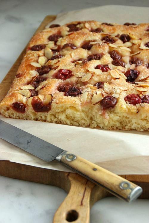 Sour Cherry and Almond Focaccia | Grandma's Recipe Box | Pinterest