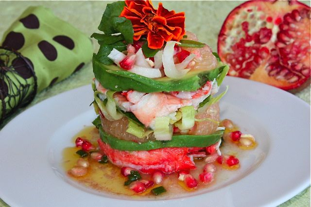 Tower salad of crab, grapefruit, pomegranate, avocado and watercress