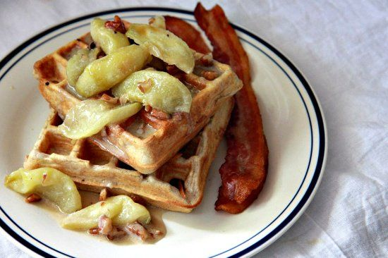 ... Spiced Waffles with Caramelized Apples (Bon Appetit May 2010