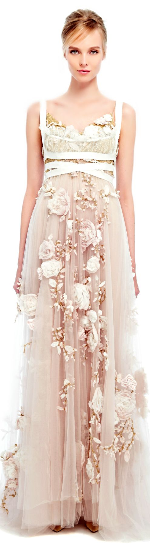 Marchesa �œ SS 2014 �œ  Silk Ribbon Rose Gown