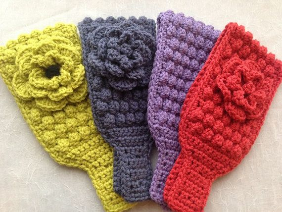 Instant Download BOBBLE Stitch HEADWRAP and FLOWER Crochet Pattern ...