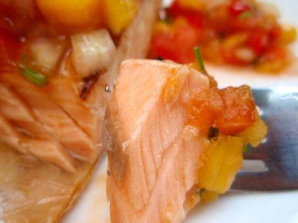 Peach Mango Salsa with grilled salmon | FOOD....FISH DISH | Pinterest