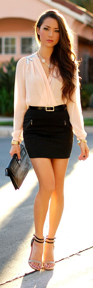 Beaded Blouse + Black Mini.